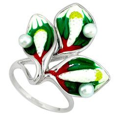 Natural white pearl multi color enamel 925 sterling silver ring size 7 c16792