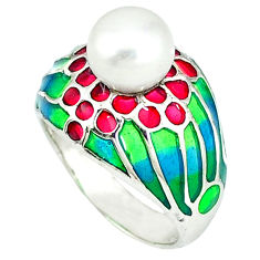 Natural white pearl multi color enamel 925 sterling silver ring size 7.5 c20741