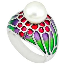 Natural white pearl multi color enamel 925 sterling silver ring size 6.5 c20742
