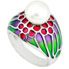 Natural white pearl multi color enamel 925 sterling silver ring size 7.5 c20745