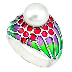 Natural white pearl multi color enamel 925 sterling silver ring size 6.5 c20746