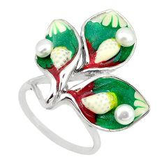 Natural white pearl multi color enamel 925 sterling silver ring size 7 c22002