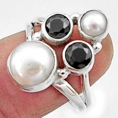 5.79cts natural white pearl onyx 925 sterling silver ring jewelry size 7 r22949