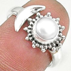 1.21cts natural white pearl round 925 silver adjustable ring size 7.5 r74626