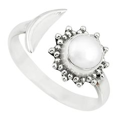 1.29cts natural white pearl round 925 silver adjustable moon ring size 7 r74613