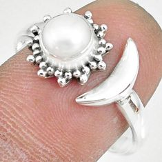 1.30cts natural white pearl round 925 silver adjustable ring size 9 r74629