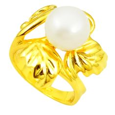 Natural white pearl round 925 sterling silver 14k gold ring size 5.5 c23974