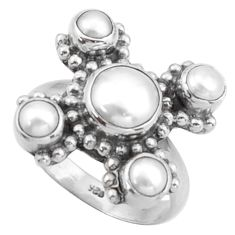 4.38cts natural white pearl round 925 sterling silver ring jewelry size 7 d46559