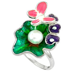 Natural white pearl round enamel 925 silver butterfly ring size 7 c16773