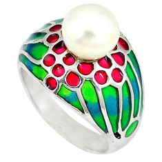 Natural white pearl round enamel 925 sterling silver ring size 7.5 c20744