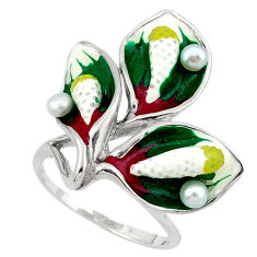 Natural white pearl round enamel 925 sterling silver ring size 8 c16797