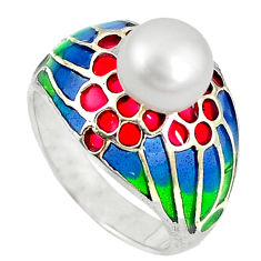 Natural white pearl round enamel 925 sterling silver ring size 9 c22874