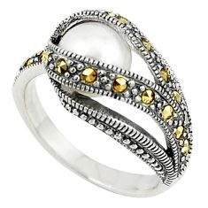 Natural white pearl round marcasite 925 sterling silver ring size 6.5 c22339