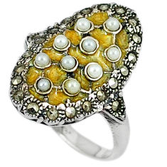 Natural white pearl round marcasite enamel 925 silver ring size 5.5 c20781