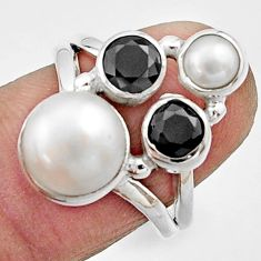6.48cts natural white pearl round onyx 925 sterling silver ring size 6.5 r22952