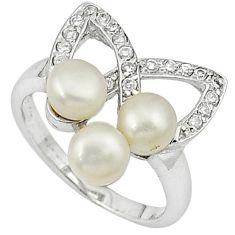 Natural white pearl round topaz 925 sterling silver ring jewelry size 9 c16062
