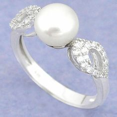 Natural white pearl round topaz 925 sterling silver ring jewelry size 8.5 c25190