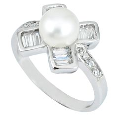 Natural white pearl round topaz 925 sterling silver ring jewelry size 6 c25180