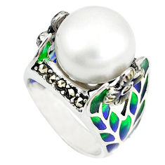 Natural white pearl swiss marcasite enamel 925 silver ring size 6.5 c20721