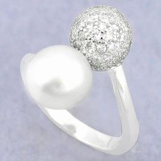 Natural white pearl topaz 925 silver adjustable ring jewelry size 5 c25120