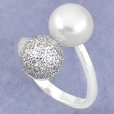 Natural white pearl topaz 925 silver adjustable ring jewelry size 6 c25109