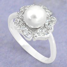 3.59cts natural white pearl topaz 925 silver solitaire ring size 7.5 c25282