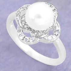 2.78cts natural white pearl topaz 925 silver solitaire ring size 7.5 c25286