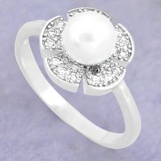 2.56cts natural white pearl topaz 925 silver solitaire ring size 6.5 c25321