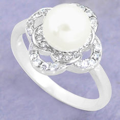2.78cts natural white pearl topaz 925 silver solitaire ring size 6.5 c25339