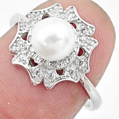 3.00cts natural white pearl topaz 925 silver solitaire ring size 6.5 c25345