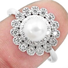 3.42cts natural white pearl topaz 925 silver solitaire ring size 7.5 c25351