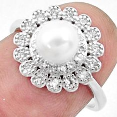 3.17cts natural white pearl topaz 925 silver solitaire ring size 6.5 c25355
