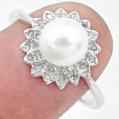 3.59cts natural white pearl topaz 925 silver solitaire ring size 7.5 c25357