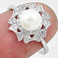 2.81cts natural white pearl topaz 925 silver solitaire ring size 6 c25012