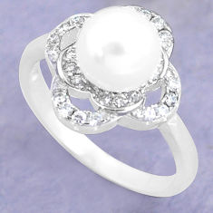 3.51cts natural white pearl topaz 925 silver solitaire ring size 6 c25290