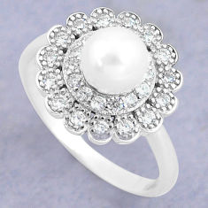 2.61cts natural white pearl topaz 925 silver solitaire ring size 6 c25329