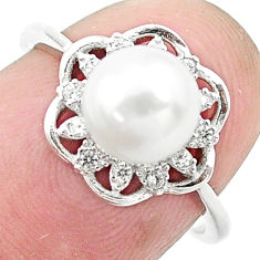 3.47cts natural white pearl topaz 925 silver solitaire ring size 6 c25350