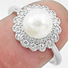 3.42cts natural white pearl topaz 925 silver solitaire ring size 7 c25014