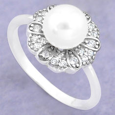 3.01cts natural white pearl topaz 925 silver solitaire ring size 7 c25285