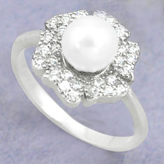 2.42cts natural white pearl topaz 925 silver solitaire ring size 7 c25289