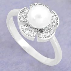 3.59cts natural white pearl topaz 925 silver solitaire ring size 7 c25293