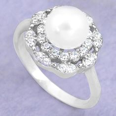 3.58cts natural white pearl topaz 925 silver solitaire ring size 7 c25323
