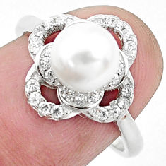 3.87cts natural white pearl topaz 925 silver solitaire ring size 7 c25341