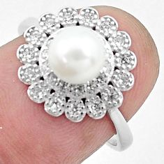 3.17cts natural white pearl topaz 925 silver solitaire ring size 7 c25347