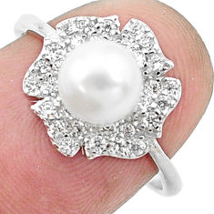 3.42cts natural white pearl topaz 925 silver solitaire ring size 7 c25348
