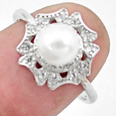 3.17cts natural white pearl topaz 925 silver solitaire ring size 7 c25359