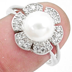 3.65cts natural white pearl topaz 925 silver solitaire ring size 7 c25360