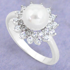 2.78cts natural white pearl topaz 925 silver solitaire ring size 7 c25399