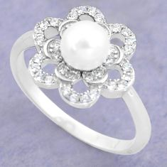 2.42cts natural white pearl topaz 925 silver solitaire ring size 8 c25322