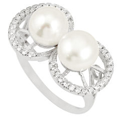7.22cts natural white pearl topaz 925 sterling silver ring size 9.5 c25222